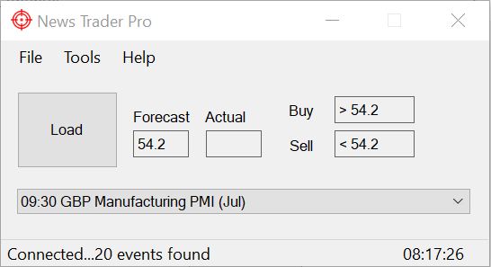 News Trader Pro Main Window